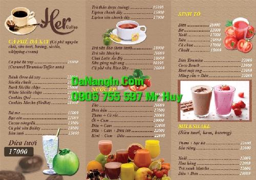 Làm menu trà sữa cafe quán nhậu ăn vặt tại quận Liên Chiểu 0905 755597