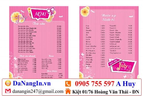 làm menu quán nhậu cafe ăn vặt trà sữa nhà hàng lấy gấp,lh 0905 755 597 A Huy,danangin.vn,in logo lên áo,in name card visit danh thiếp,in lụa đà nẵng 247