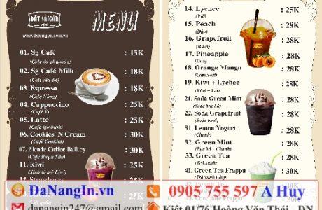 làm menu quán nhậu cafe trà sữa lấy gấp tại đà nẵng,LH 0905 755 597 A Huy danangin.vn,làm áo quán nhậu,in dây buộc đầu,xưởng in lụa hòa minh hòa mỹ
