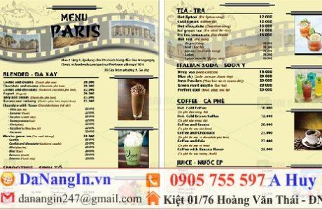 làm menu tại Đà Nẵng giá rẻ,0905 755 597 A Huy - danangin.vn,thiết kế menu cafe quán nhậu trà sữa,menu quán ăn vặt,làm menu chống nước,làm đồng phục lấy gấp
