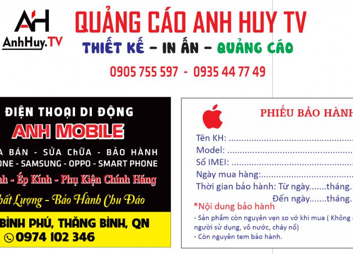In name card danh thiếp điện thoại di động mobile tại Đà Nẵng